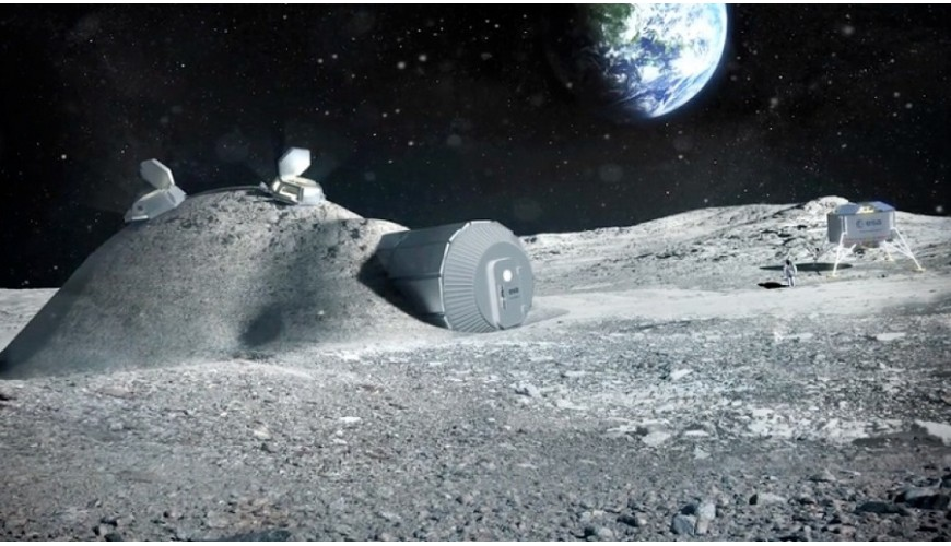 Base lunar recreada por la Agencia Espacial Europea, ESA.
